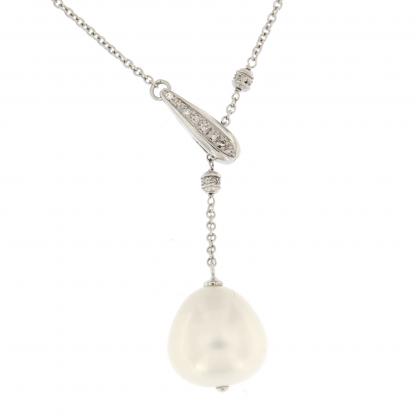 Girocollo in oro bianco 18 kt con diamanti GVS e perla South sea.