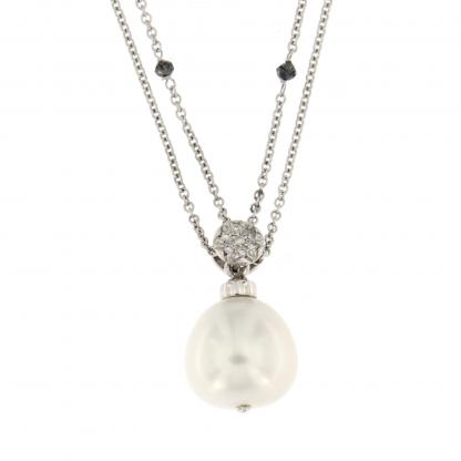 Girocollo in oro bianco 18 kt con Diamanti GVS, diamanti neri e perla.