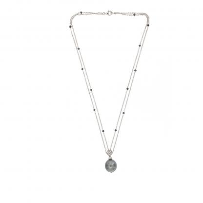 Girocollo in oro bianco 18 kt con Diamanti GVS, diamanti neri e perla Tahiti.
