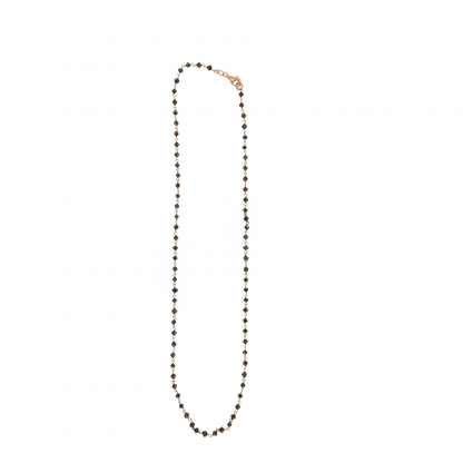 Rosario in oro rosa 18 kt con diamanti neri 2,5-3mm lungo 42cm.