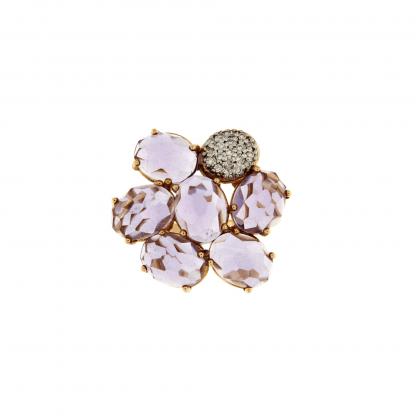 Anello in oro rosa 18 kt con diamanti GVS e petali in ametista.
