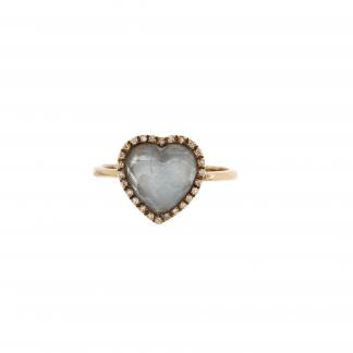Anello in oro rosa 18kt, con diamanti GVS e pietra taglio cuore 10x10mm.