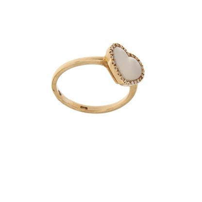 Anello in oro rosa 18kt, con diamanti GVS e madreperla bianca taglio cuore liscio 10x10mm.