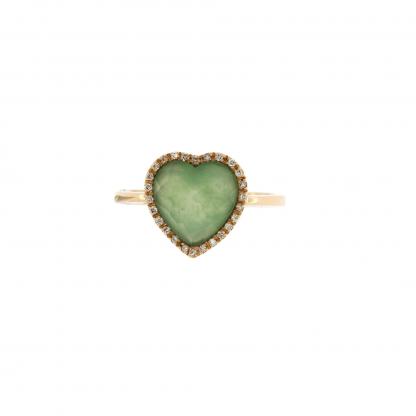 Anello in oro rosa 18kt, con diamanti GVS e crisoprasio taglio cuore sfaccettato 10x10mm.
