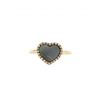 Anello in oro rosa 18kt, con diamanti GVS e madreperla nera taglio cuore liscio 10x10mm.