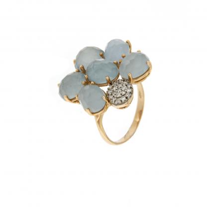 Anello in oro rosa 18 kt con diamanti GVS e petali in pietra dura o semipreziosa.