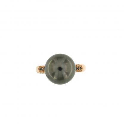 Anello in oro rosa 18kt con diamanti neri 0,48 kt e perla Tahiti 13mm.