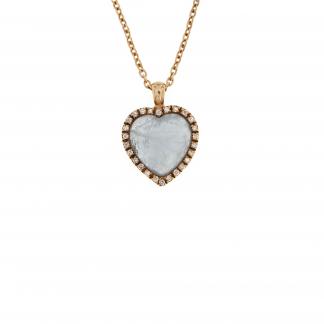 Girocollo in oro rosa 18 kt con diamanti GVS  e pietra taglio cuore 10x10mm.