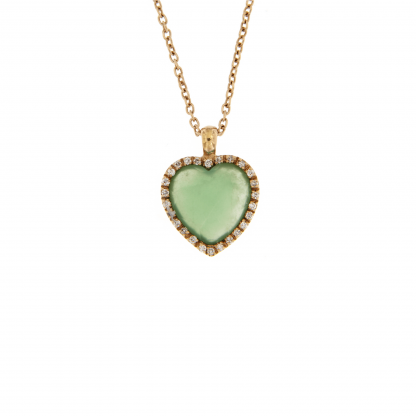 Girocollo in oro rosa 18 kt con diamanti GVS  e crisoprasio taglio cuore 10x10mm.
