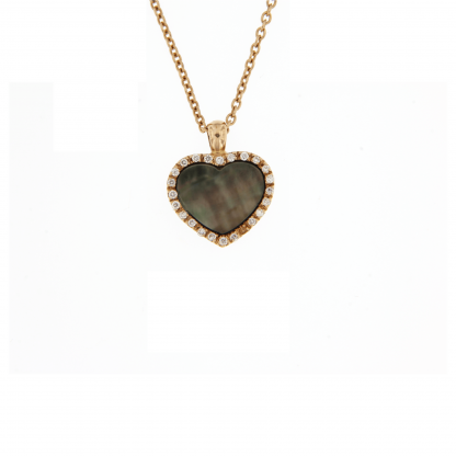 Girocollo in oro rosa 18 kt con diamanti GVS  e madreperla nera taglio cuore 10x10mm.