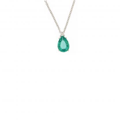 Girocollo in oro bianco 18 kt con diamanti GVS e smeraldo taglio goccia 7x5mm.