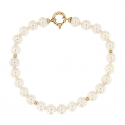 Bracciale in perle Akoya 7,5-8mm con inserti e chiusura in oro rosa 18 kt.