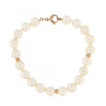 Bracciale in perle Akoya 8,5-9mm con chiusura in oro rosa 18 kt.