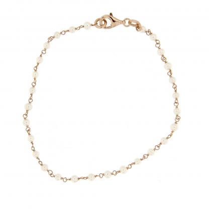 Bracciale in oro rosa 18 kt con perle fresh water 2,5-3mm.