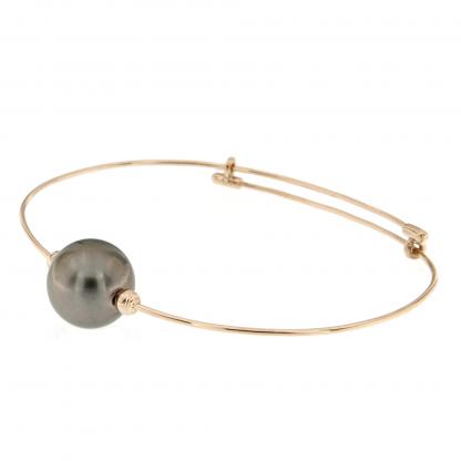 Bracciale in oro rosa 18 kt con perla Tahiti grigia 11,50-11,70mm.
