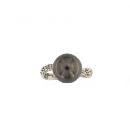Anello in oro bianco 18kt con diamanti GVS e perla Tahiti 11-12mm.
