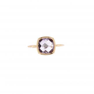 Anello in oro rosa 18kt, con pietra taglio antico briolette 8x8mm.