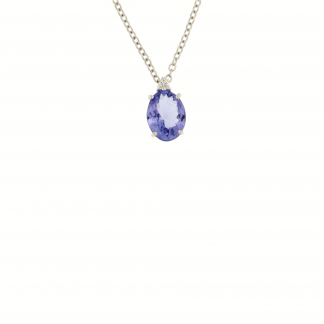 Girocollo in oro bianco 18 kt con diamanti GVS e tanzanite taglio ovale 8x6mm.