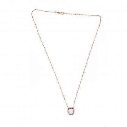 Girocollo in oro rosa 18 kt con ametista rosa taglio antico briolette 10x10mm.