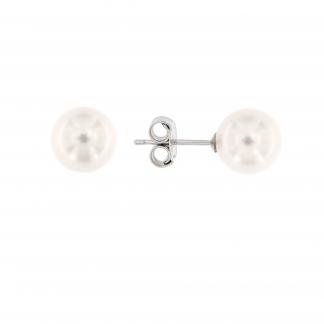Orecchini in oro bianco 18 kt con perle Akoya.