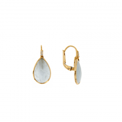 Orecchini in oro rosa 18 kt con diamanti GVS e pietra taglio goccia.