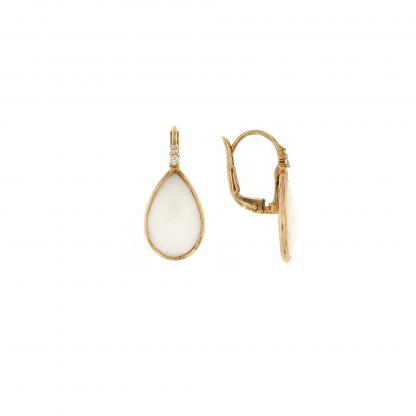 Orecchini in oro rosa 18 kt con diamanti GVS e agata bianca taglio goccia 15x10mm.