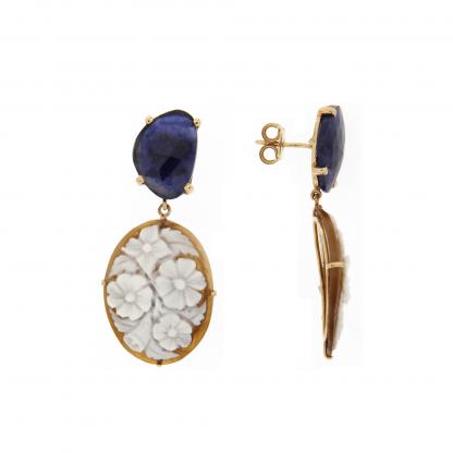 Orecchini in oro rosa 18 kt con diamanti GVS, zaffiro blu e cammeo.