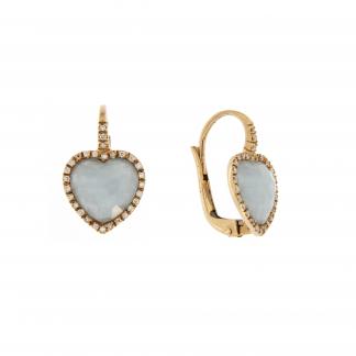 Orecchini in oro rosa 18 kt con diamanti GVS e pietra taglio cuore 10x10mm.