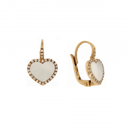 Orecchini in oro rosa 18 kt con diamanti GVS e madreperla bianca taglio cuore liscio 10x10mm.