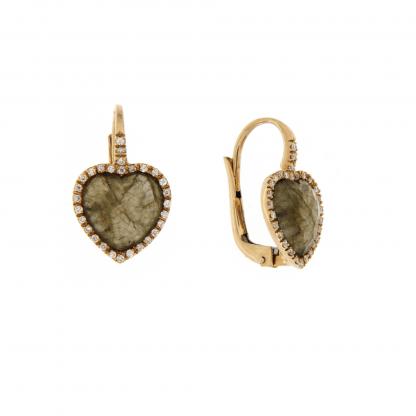Orecchini in oro rosa 18 kt con diamanti GVS e labradorite taglio cuore 10x10mm.