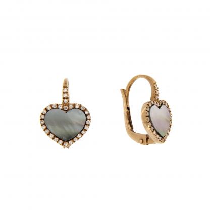 Orecchini in oro rosa 18 kt con diamanti GVS e madreperla nera taglio cuore liscio 10x10mm.