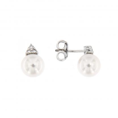 Orecchini in oro bianco 18 kt con diamanti GVS e perle Akoya 8-8,5mm.