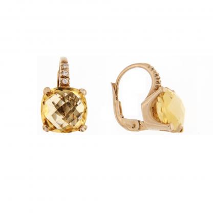 Orecchini in oro rosa 18 kt con diamanti GVS  e pietra semipreziosa taglio antico briolette 10x10mm.