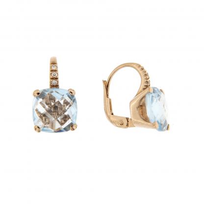 Orecchini in oro rosa 18 kt con diamanti GVS  e topazio azzuro taglio antico briolette 10x10mm.