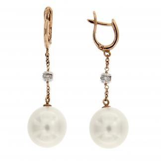 Orecchini in oro rosa/bianco 18 kt con diamanti GVS e perle south sea 12-13mm.