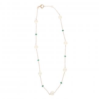 Girocollo in oro rosa 18kt con perle akoya barocche sui toni del grigio e rondelle in smeraldo.