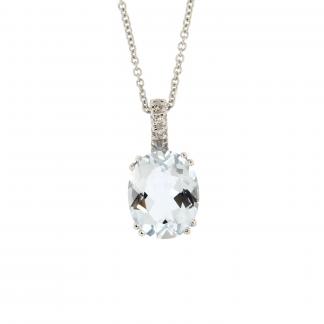 Girocollo in oro bianco 18kt con diamanti GVS1 e acquamarina taglio ovale 10x8mm.