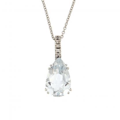 Girocollo in oro bianco 18kt con diamanti GVS1 e acquamarina taglio goccia 12x8mm.