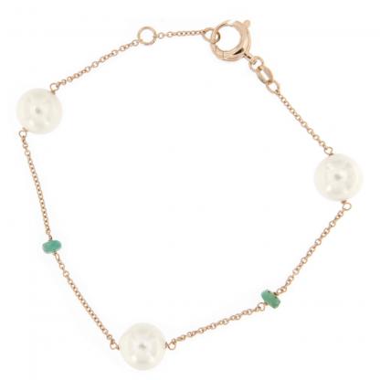 Bracciale in oro rosa 18kt con perle akoya e rondelle in smeraldo.