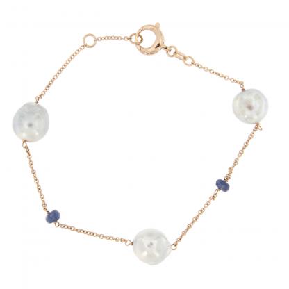 Bracciale in oro rosa 18kt con perle akoya e rondelle in zaffiro.