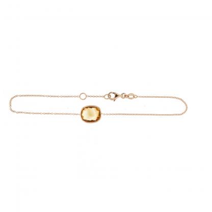 Bracciale in oro rosa 18 kt con citrino taglio sfaccettato irregolare 10x8mm.