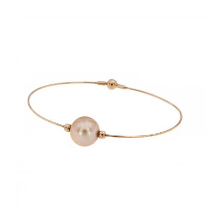 Bracciale in oro rosa 18 kt con perla Edison 11,5-12,5mm.