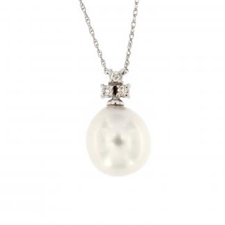 Girocollo in oro bianco 18kt con diamanti GVS1 e perla south sea 10-11mm.