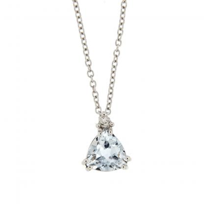 Girocollo in oro bianco 18 kt con diamanti GVS1  e acquamarina taglio trillon 6x6mm.
