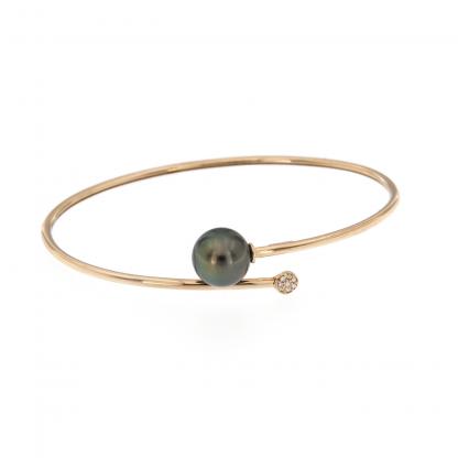 Bracciale in oro rosa 18 kt con diamanti GVS1 e perla Tahiti 10-11mm.