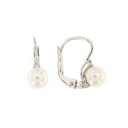 Orecchini in oro bianco 18kt con diamanti GVS1e perle akoya 6-6,5mm.