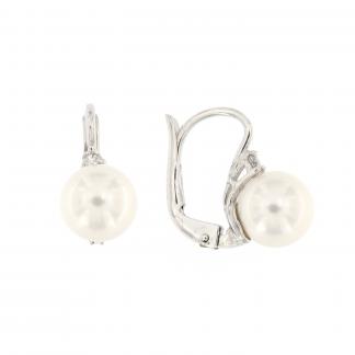 Orecchini in oro bianco 18kt con diamanti GVS1 e perle akoya 8-8,5mm.