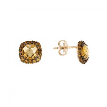 Orecchini in oro rosa 18 kt con pietre citrino taglio antico briolette 6x6mm e taglio brillante 1,50mm.