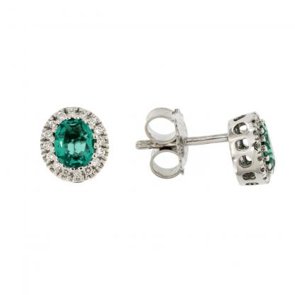 Orecchini in oro bianco 18kt con diamanti GVS e smeraldo taglio ovale 5x4mm.