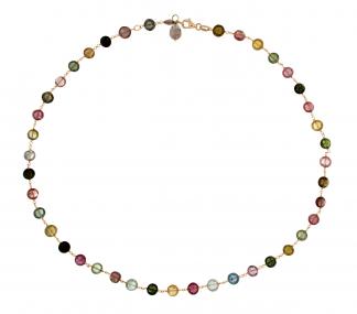 Collana in oro rosa 18kt con tormalina multicolor
